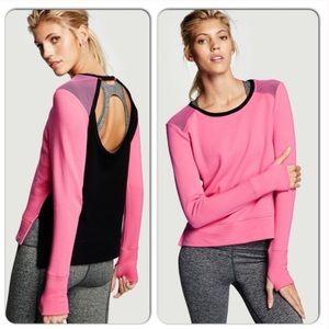 NWT VS SPORT Pink Black Mesh Open Back Sweatshirt